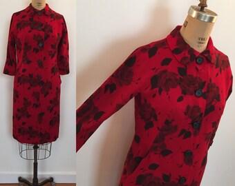 Winter floral Harvey Berin by Karen Stark  wool 60s dress