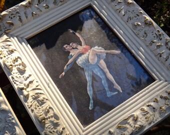 Ballerina Art, SET OF TWO Framed Ballet Dancers, Harlequin Dancers, Gesso Frame, White Gold Frame, Dancing, Tutus, Classical Dancers,FineArt