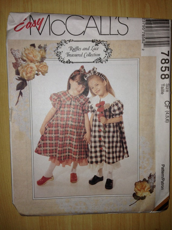 McCalls Sewing Pattern 7858 Girls Dress, Petticoat and Headband Size 4-6