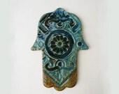 RESERVED FOR MONICA- Hamsa Tile With Metal ahnging wire, Blue Aqua Handmae Ceramic Ancient Style Hamsa Good Luck Charm, Mystical Symbol