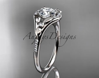 14kt  white gold diamond floral wedding ring,engagement ring ADLR126