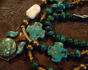 Boho Turquoise and Bronze Three Strand One of a Kind Necklace