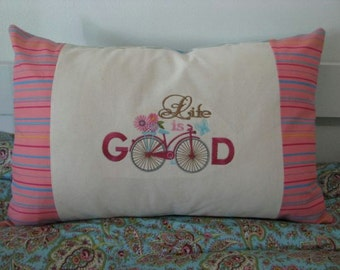 Pillow Cushion cover - Patchwork and Machine Embroidery - Life is Good -  13x20inch or 33cmx51cm