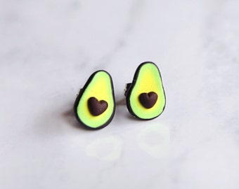 Avocado Earrings Studs Posts with Heart Shaped Pit
