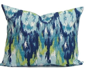 BLUE GREEN PILLOW.12x16 or 12x18..Decorative Pillow Cover.Housewares.Home Decor.Popular..Watercolor.Green.Blue.Cm..Blue Pillow Cover.Lumbar