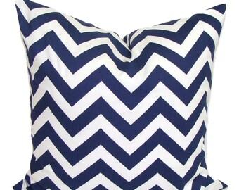 SALE NAVY Chevron PILLOW Sale.18x18 inch.Pillow Cover.Decorative Pillows.Navy Blue Pillow Cover.Housewares.Home Decor.Chevron.ZigZag.Blue Cu