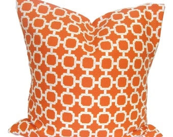 ORANGE OUTDOOR PILLOW.16x16 inch.Decorative Pillow Cover.Outdoor Decor.Orange..Indoor.Outdoor.Pillow.Cushions.Housewares.Outdoor Cushion