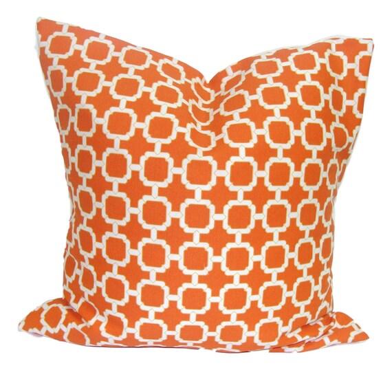 ORANGE OUTDOOR PILLOW.16x16 inch.Decorative Pillow Cover.Outdoor Decor.Orange..Indoor.Outdoor.Pillow.Cushions.Housewares.Outdoor Cushion