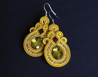 soutache earrings, yellow earrings, gift for woman, embroidery earrings, sunny earrings, dangle earrings, gift for girl, mother's day