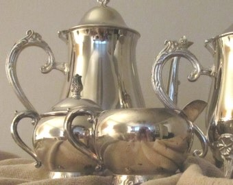 Elegant FB Rogers Footed Cream And Sugar 1940s Very GOOD Used Condition English Silverplating on EP Brass