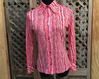 Red Polyester Blouse