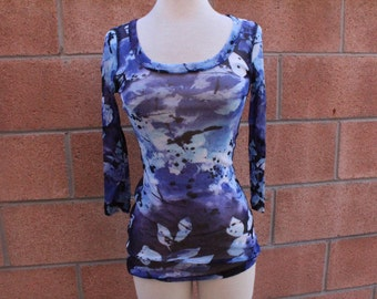 Blue splatter sheer top soze small
