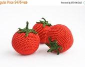 Crochet Tomato - fun kid toy, baby rattle, play food, kitchen decoration - eco-friendly toys, FrejaToys