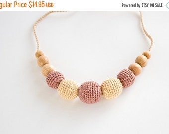SALE Cream-Cocoa Nursing Necklace - Babywearing, Breastfeeding, Natural Jewelry, Teething Jewelry, Mother's Day - FrejaToys
