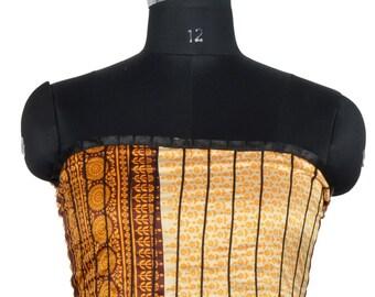 Vintage Up-cycle Silky Sari Maxi Sun Dress India DY41