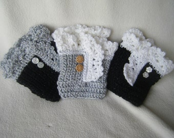 Crocheted Lacey Boot Cuffs with Buttons - Made to Order