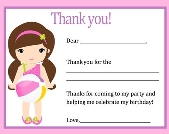 Pool Party Thank You Card- Digital file - You print / Girl Pool Party Thank You Card / Beach Birthday Thank You Card