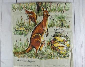 Vintage Pure Linen Tea Towel  Australian Kangaroo by Heil Print Australia Souvenir
