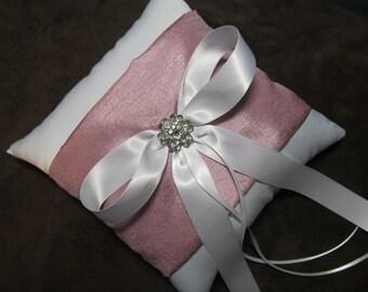 White Satin Wedding Ring Bearer Pillow with Rose Pink Sash & Rhinestone - Custom Ring Pillow