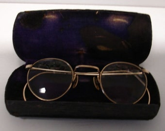 Antique Eyeglasses Wire Frame  FulVue Gold Tone Art Deco Style Spectacles Vintage eye Ware