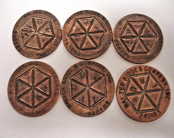 Vintage Lot of 6 Walter Kidde & Co. Coins Tokens Brass Tokens 1940s Safety Products