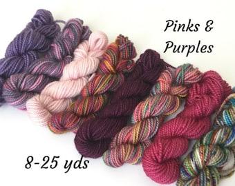 Pinks & Purples, 8 Sock Yarn Mini Skeins, 25 yds each, 200 yds total