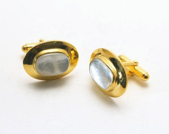 Mother Of Pearl Cufflinks Regnas Gold Plated Sterling Silver 925