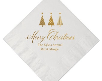 Merry Christmas Personalized Beverage/Cocktail Napkins