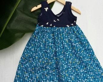 Girls Organic Dress / Girls Boutique Dress / 2t Toddler Bird Dress / Girls Fall Dress / Girls Autumn Dress / Girls organic cotton blue dress