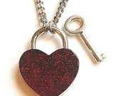 Ruby Red & Black Glitter - Stainless Steel Discreet Slave BDSM Day Collar Necklace Heart Lock
