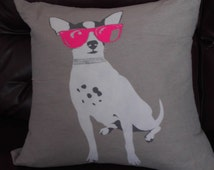 Chihuahua Large Pillow HOT pink sunglasses - Glitter color - Hand Painted Throw