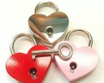 Choose Color Heart Mini Padlock Lock and Key Purse Collar Suitcase