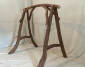 Rustic Natural Curved Cedar Log Swing Stand Unique Functional Porch Patio Deck Garden Art