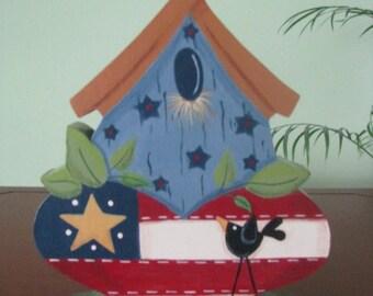 Birdhouse, flag, patriotic, crow, shelf sitter, Americana, patriotic birdhouse
