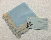 Vintage Blue with lace border hanky, hankerchief for wedding, something blue, picnic, dining, housewares by MarlenesAttic