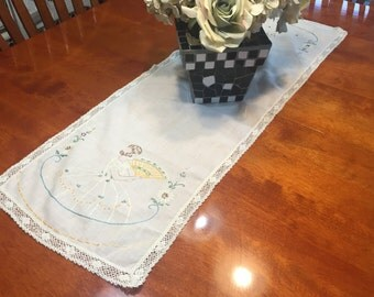 Vintage White linen dresser scarf table runner with lace border and floral embroidered design for home decor by MarlenesAttic