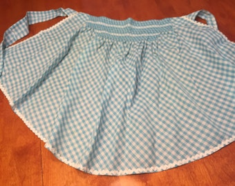 Vintage 1960's Mint Blue Gingham kitchen aprons with rick rack pattern by MarlenesAttic