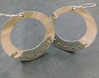 Bronze Rivet Hoops, Sterling Silver, Mixed Metal Hoop Earrings