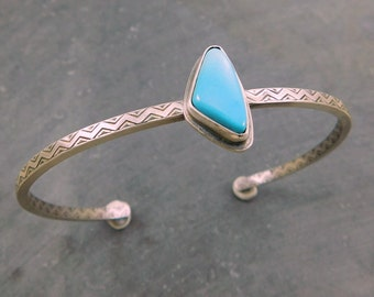 Sleeping Beauty Turquoise Cuff, Oxidized Sterling Silver, American Turquoise Bracelet