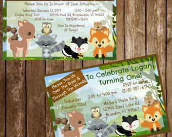 Woodland Forest Animal Party Invitation Baby Shower or Birthday Download