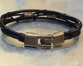Leather Bracelet Men's Bracelet Leather Wrap Bracelet Black Leather Bracelet