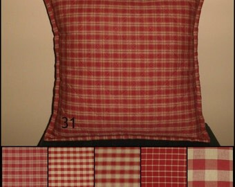 Burgundy Red and TAN Quilted Pillow Cover Various Sizes Homespun Plaid Check Primitive Country Rustic