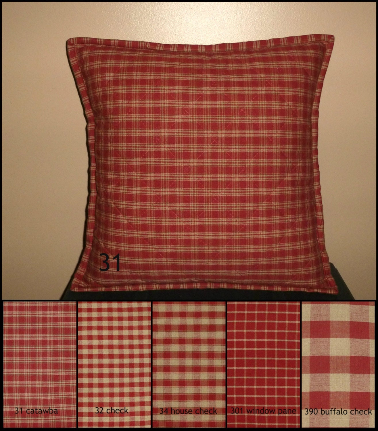 White Quilted Decorative Pillows : Burgundy Red and TAN Quilted Pillow Cover Various Sizes
