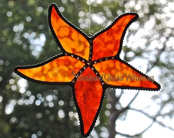 "Stained Glass STARFISH Suncatcher --""Bermuda Sunrise""; Fiery Reds/Oranges with Yellow and Cream, Decorative Soldering, Starfish Suncatcher"