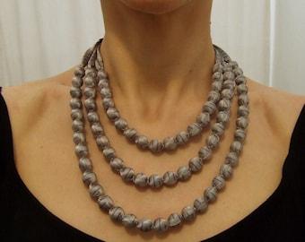 3 strands light gray necklace