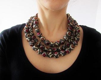 Three strands silk necklace