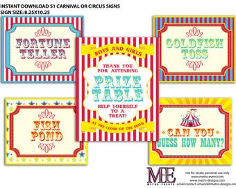 Carnival & Circus Party Signs: Instant Download