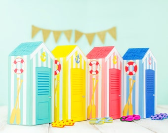 Printable Beach Huts Gift Boxes, DIY Beach themed Favor Boxes, Paper Beach House Boxes