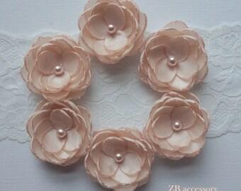 Pale blush flowers, Light pink silk flowers, small bridesmaids hair clips, Bridal hair pins, Wedding accessories, shoe clips, sash brooch