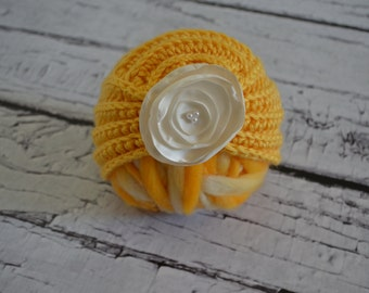 Crocheted Yellow Satin Turban Style Baby Photo Prop 0-3 months